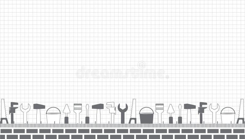 Yrkesmässig faktotumservice Vektorbanermall med hjälpmedel samling och textutrymme Uppsättning av reparationshjälpmedel på ett ar royaltyfri illustrationer