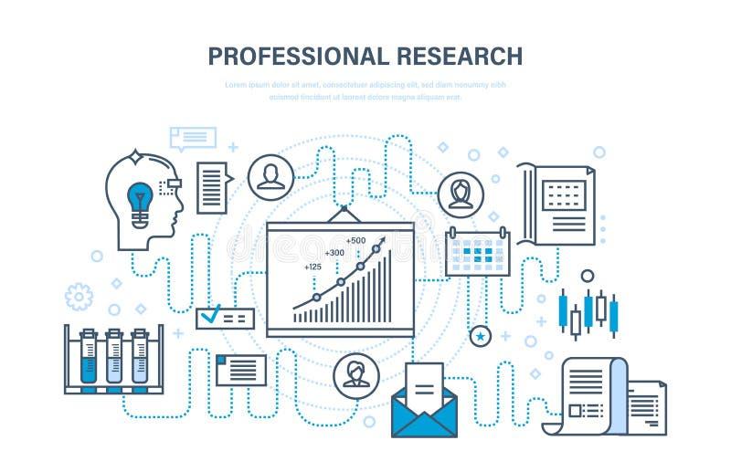 Yrkesmässig forskning Affärsplanläggning, strategi, övervakning, analys, systemutveckling, utbildning royaltyfri illustrationer