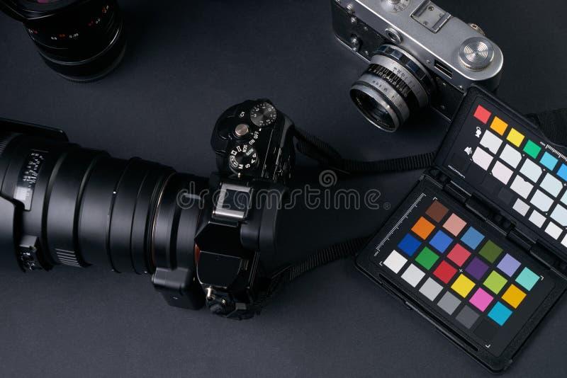 Yrkesmässig fotografiutrustning arkivbild