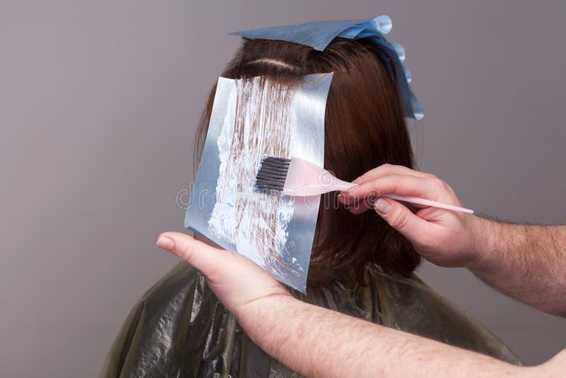 Yrkesmässig frisörinnehavborste och färgahår av hennes cl royaltyfri foto