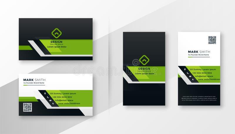 Yrkesmässig grön modern uppsättning för mall för affärskort vektor illustrationer