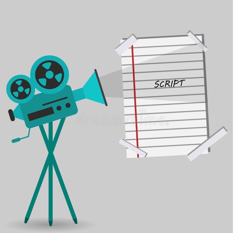 Yrkesmässig kamera för tappning för filmer och en skriftsida stock illustrationer
