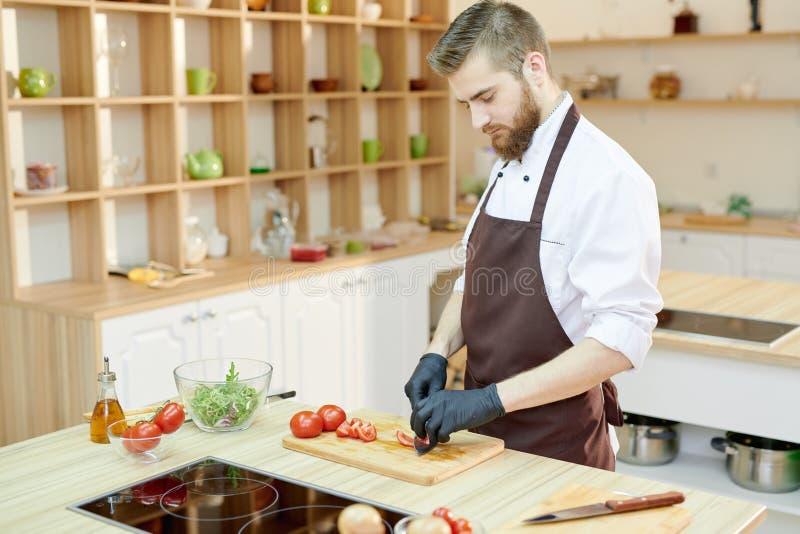 Yrkesmässig kock Cooking Salad i restaurang royaltyfri fotografi