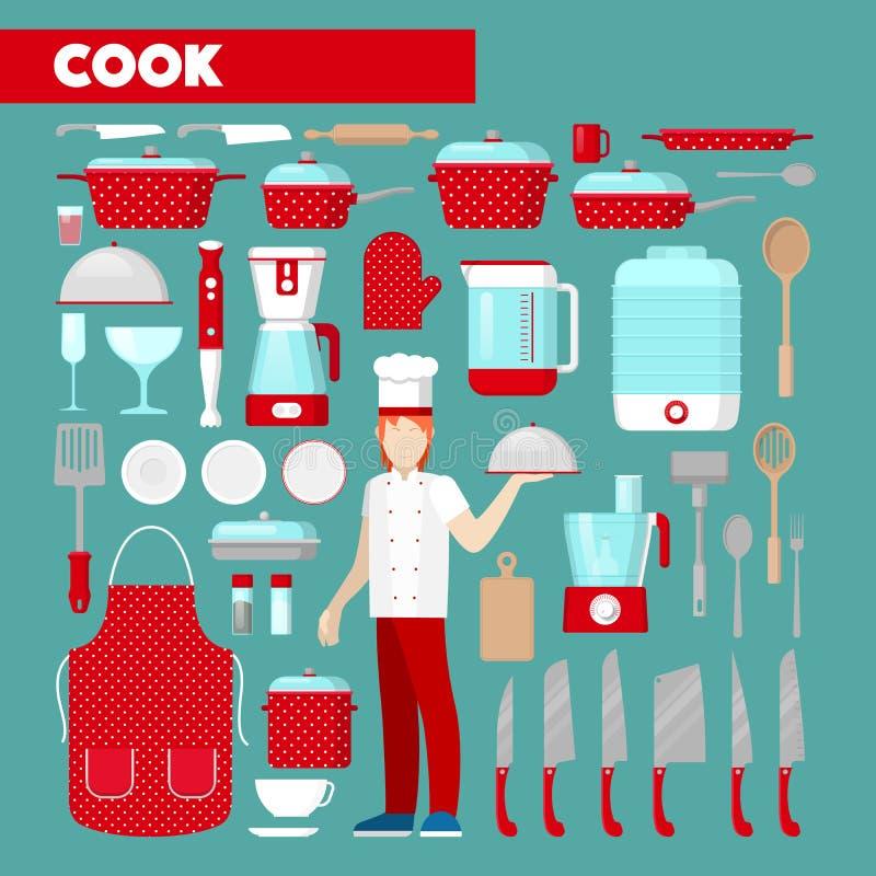 Yrkesmässig kock Icons Set med köksgeråd vektor illustrationer