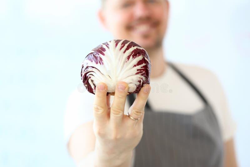 Yrkesm?ssig kockHolding Organic Purple k?l fotografering för bildbyråer