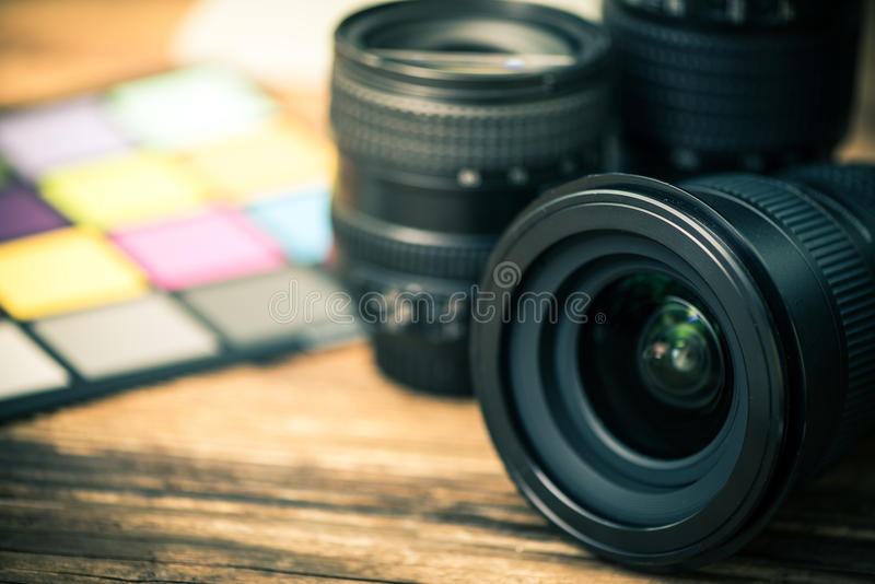 Yrkesmässig lins för digitalt fotografi arkivfoto