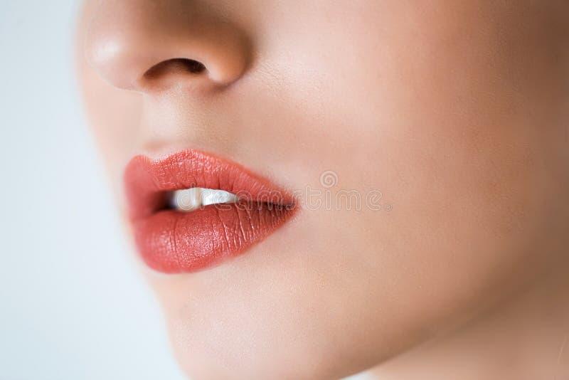 Yrkesmässig Makeup Lipgloss Closeupstående av den härliga flickan med färgrika röda kanter och läppstift Caucasian modell för ung royaltyfria bilder
