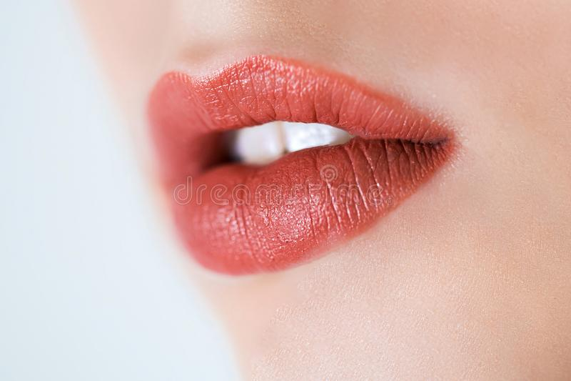 Yrkesmässig Makeup Lipgloss Stäng sig upp ståenden av den härliga flickan med färgrika röda kanter och läppstift Caucasian funkti arkivfoto
