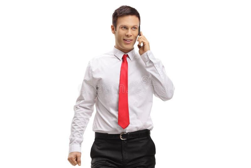 Yrkesmässig man som talar på en telefon royaltyfria foton