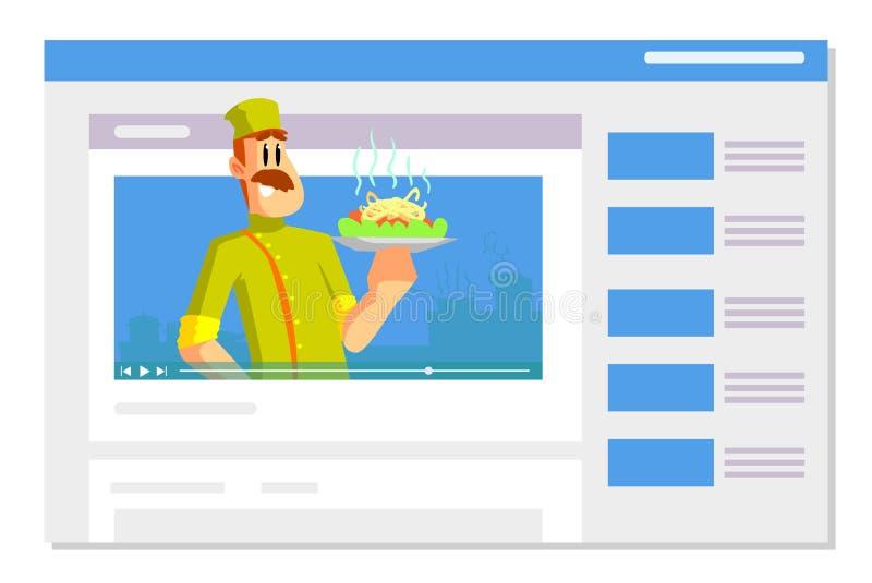 Yrkesmässig manlig kock Holding Dish, mat som Blogging, videopn Bloggertecken som framme lagar mat av kamera i kökvektor stock illustrationer