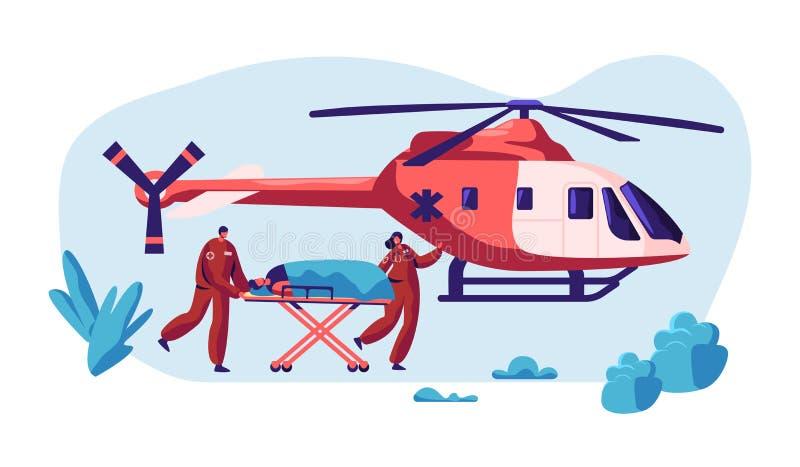 Yrkesmässig medicinräddningsaktion Person med paramedicinsk utbildning Urgency Injured Character med helikoptern till sjukhuset f stock illustrationer