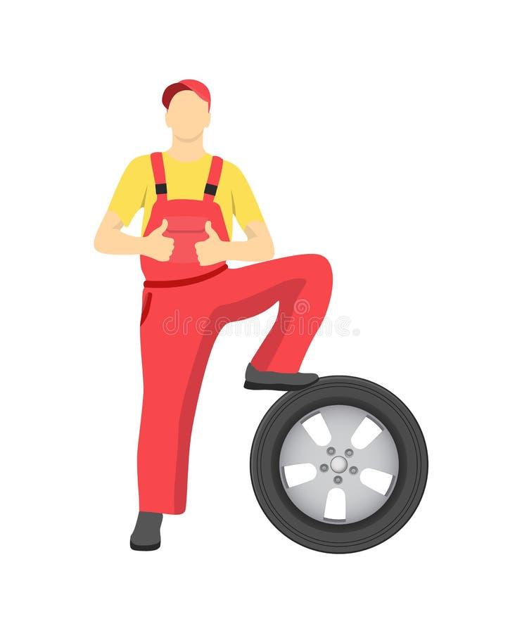 Yrkesmässig mekaniker i overaller med det nya gummihjulet vektor illustrationer