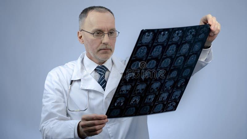 Yrkesmässig neurosurgeon som kontrollerar MRI-hjärnbilden, huvudvärkbehandling, trauma royaltyfri fotografi