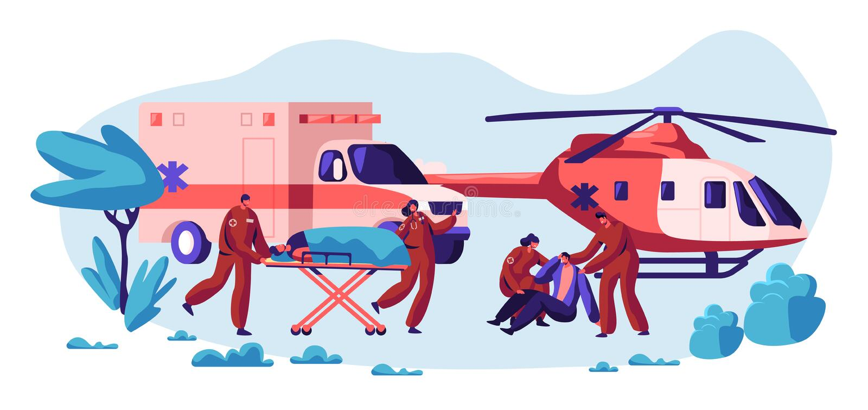 Yrkesmässig räddningsaktion Team Care ditt liv Snabbt transport-, helikopter- och medelsjukvårdtecken från olycka royaltyfri illustrationer