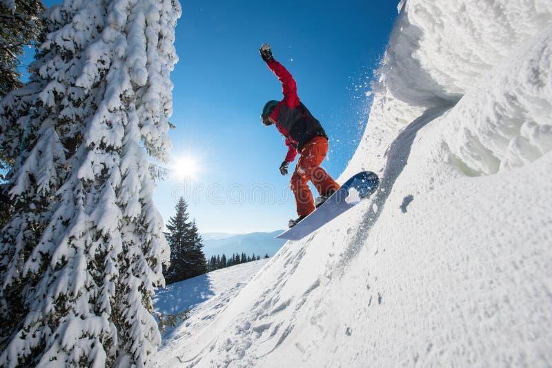 Yrkesmässig snowboarderridning i bergen royaltyfria bilder