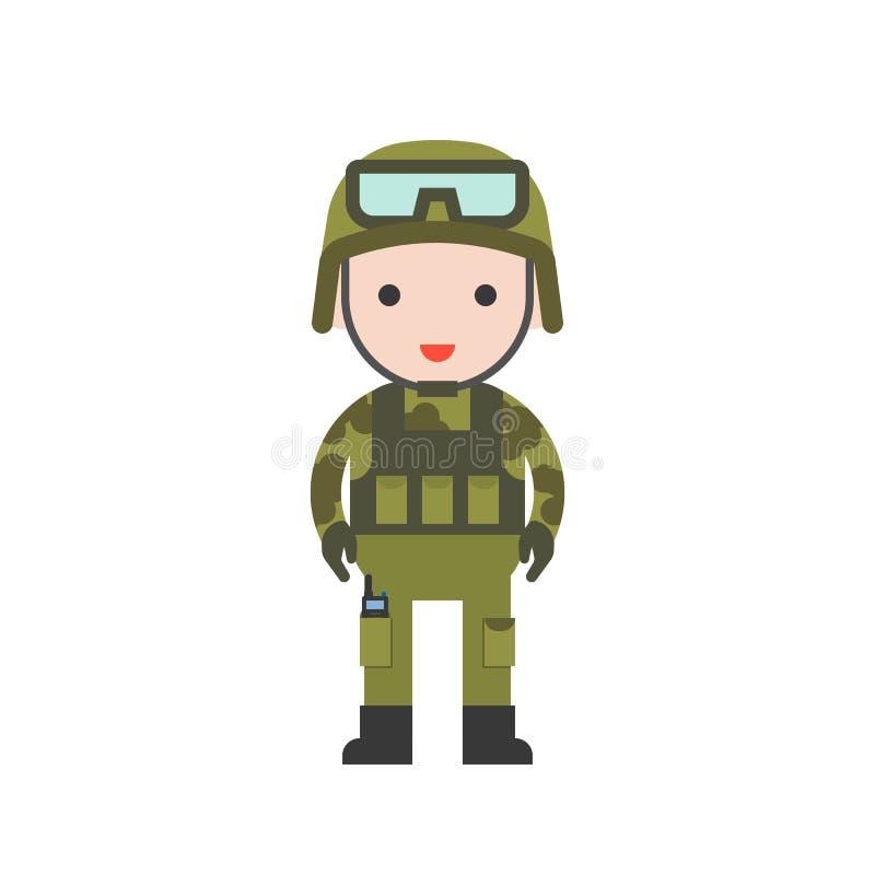 Yrkesmässig uppsättning för militärt gulligt tecken, plan design vektor illustrationer