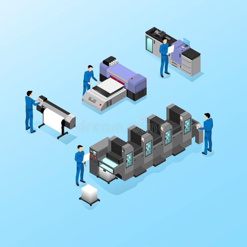 Yrkesmässig utrustning för olika typer av printing i fältet av advertizingen, offset och digitalt såväl som bläckstrålar och ultr stock illustrationer