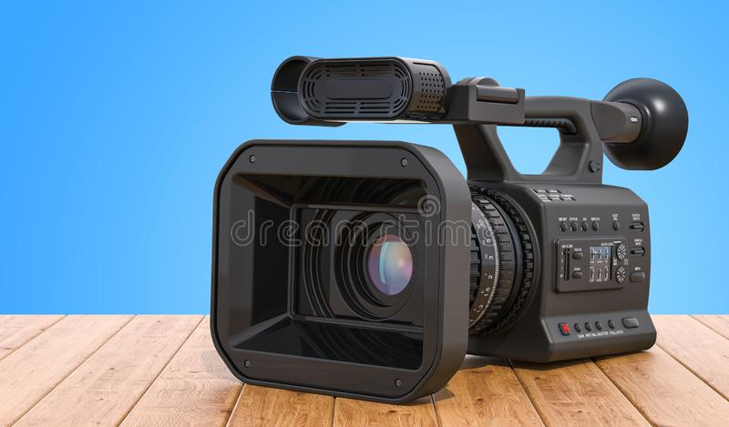 Yrkesmässig videokamera på trätabellen framförande 3d vektor illustrationer