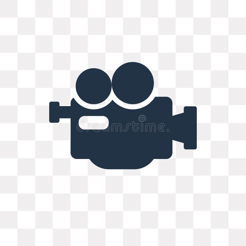 Yrkesmässig videokameravektorsymbol som isoleras på genomskinliga lodisar vektor illustrationer