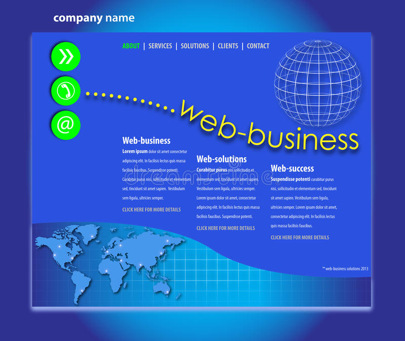 Yrkesmässig Websitemall vektor illustrationer