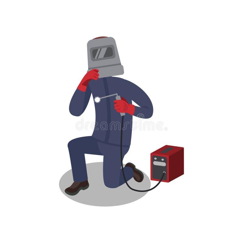 Yrkesmässig welder i skyddande maskering och handskar som arbetar med svetsningmaskinen Arbetare i blå likformig Plan vektor stock illustrationer