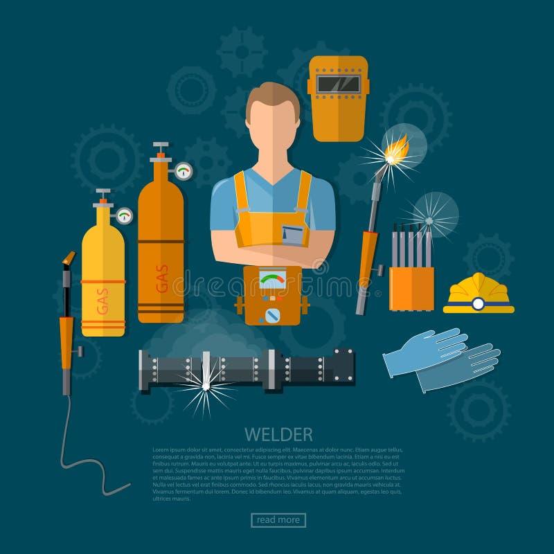 Yrkesmässig welder, svetsande hjälpmedel och utrustning royaltyfri illustrationer