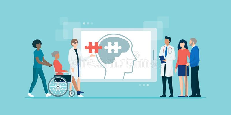 Yrkesmässiga hjälpande patiens för medicinskt lag med Alzheimers sjukdom vektor illustrationer