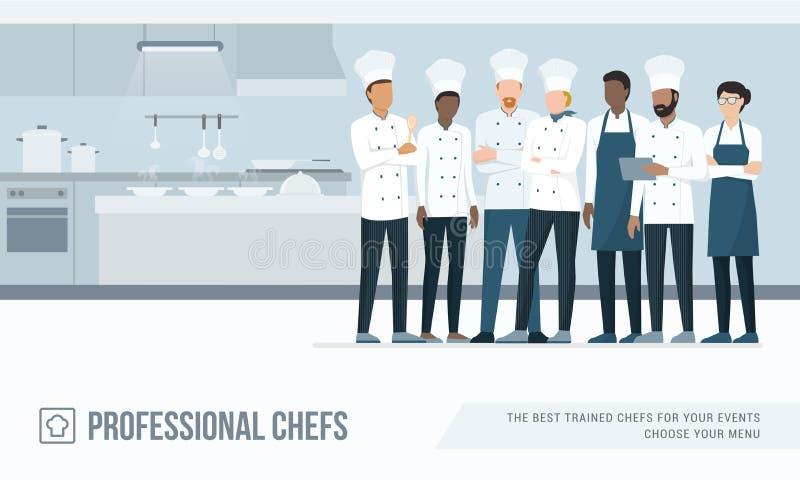 Yrkesmässiga kockar i köket royaltyfri illustrationer