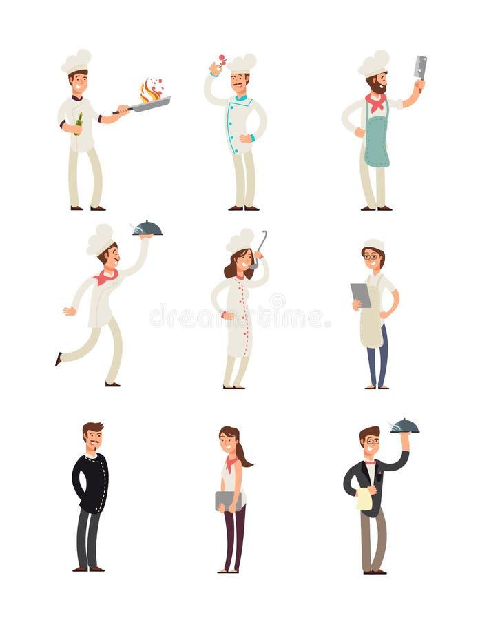 Yrkesmässiga kockar och restaurangpersonal Lyckliga kockar och tecken för servitrisvektortecknad film ställde in royaltyfri illustrationer