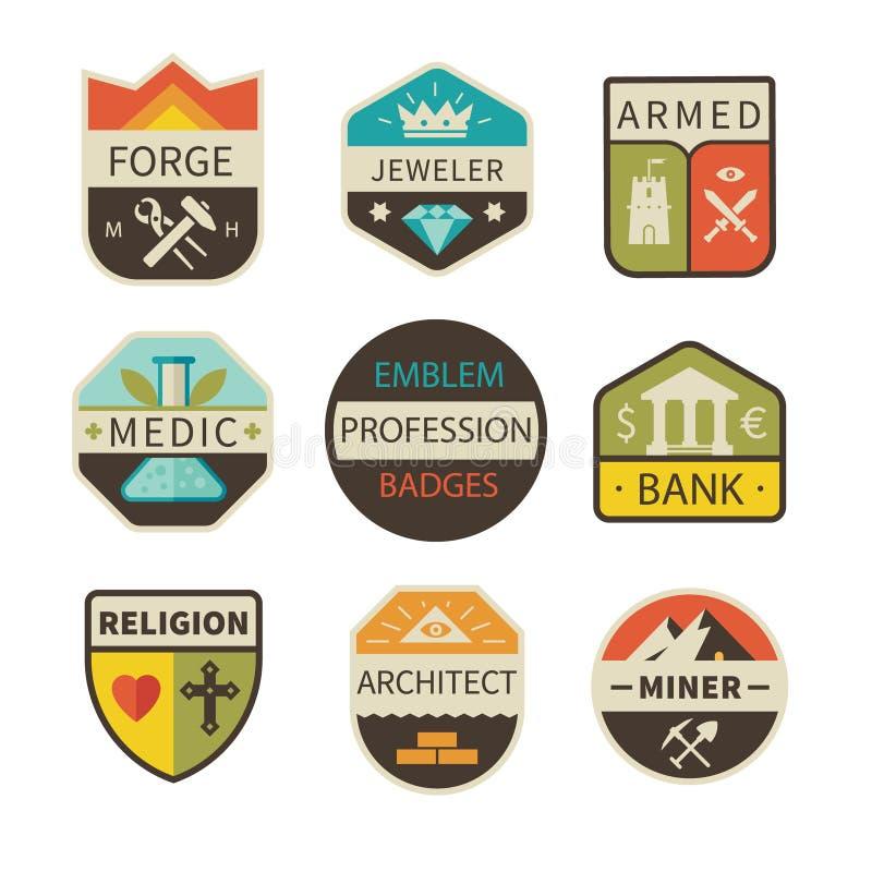 Yrkesmässiga logoer och emblem stock illustrationer