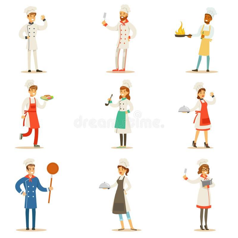 Yrkesmässiga matlagningkockar som arbetar i restaurangen som bär den klassiska traditionella vita likformiguppsättningen AV teckn stock illustrationer