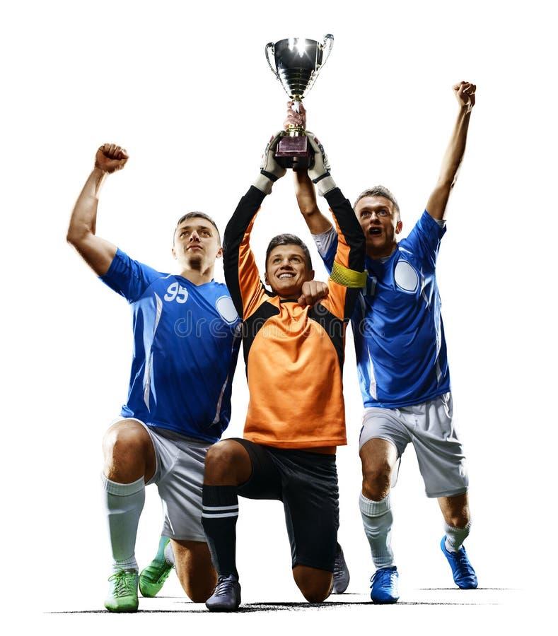 Yrkesmässigt fira för fotbollspelare som är victiry arkivfoton