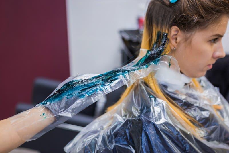 Yrkesmässigt frisörfärgläggninghår av kvinnaklienten på studion royaltyfri fotografi