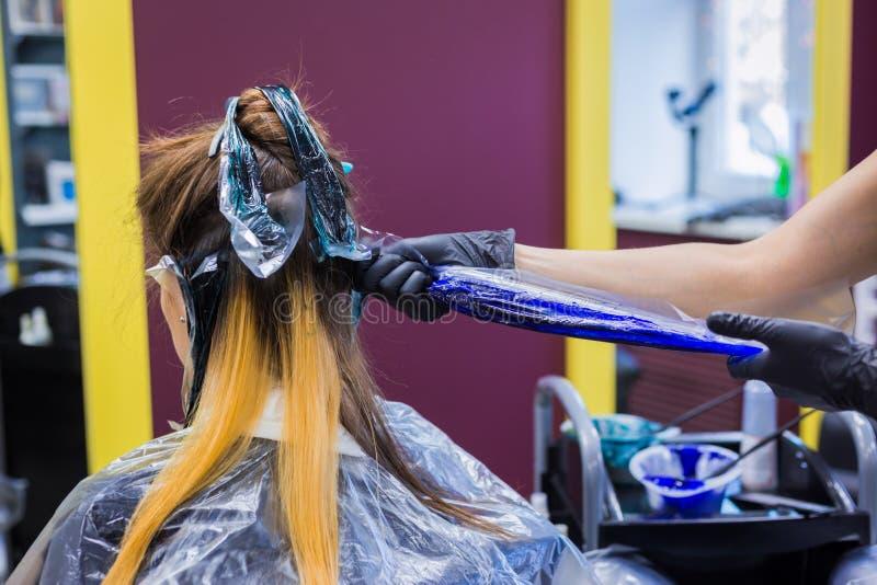 Yrkesmässigt frisörfärgläggninghår av kvinnaklienten på studion royaltyfria bilder
