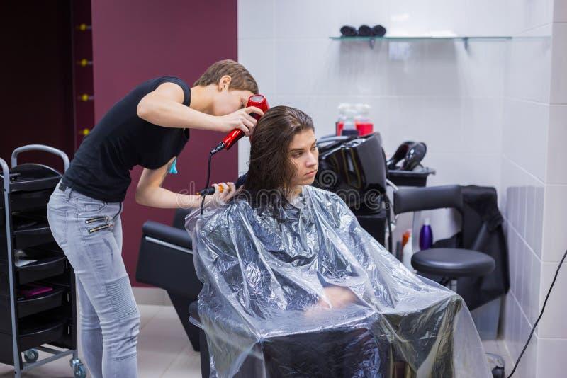 Yrkesmässigt hår för frisöruttorkningklient arkivfoton