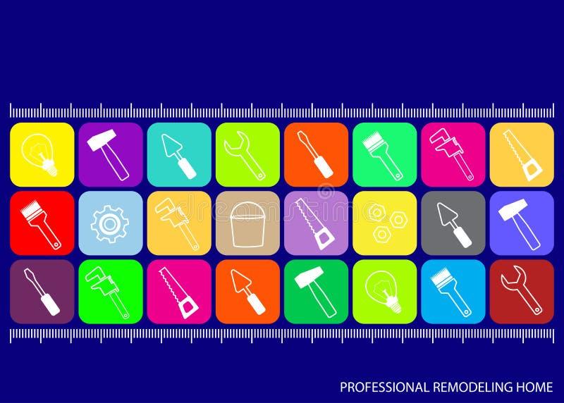 Yrkesmässigt omdana för hus Kulöra fyrkanter med symboler av hjälpmedel för reparation på blå bakgrund royaltyfri illustrationer