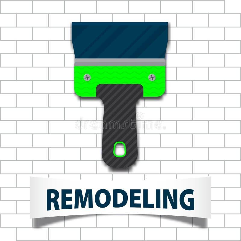 Yrkesmässigt omdana för hus Spatel för murbruk med mjuk skugga på en tegelstenbakgrund Materielvektor stock illustrationer