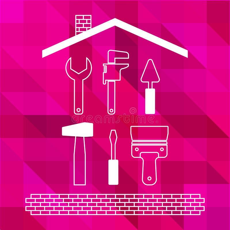 Yrkesmässigt omdana för hus Uppsättning av den tunna linjen hjälpmedel för reparation på den ljusa rosa polygonal bakgrunden Kont vektor illustrationer