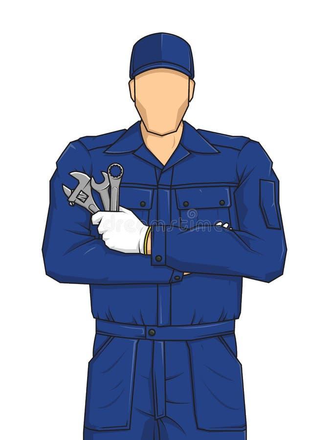 Yrkesmässigt tecknad filmtecken för automatisk mekaniker som rymmer en skiftnyckel Arbetare för sakkunnig service Bygg din person royaltyfri illustrationer