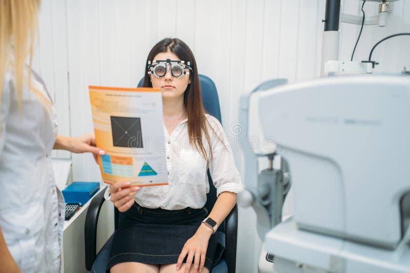 Yrkesmässigt val av exponeringsglaslinsen, oftalmologi arkivbild