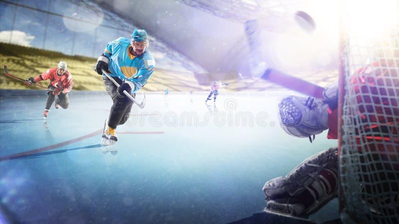 Yrkesm?ssiga hockeyspelare i handling p? den storslagna arenan arkivbilder