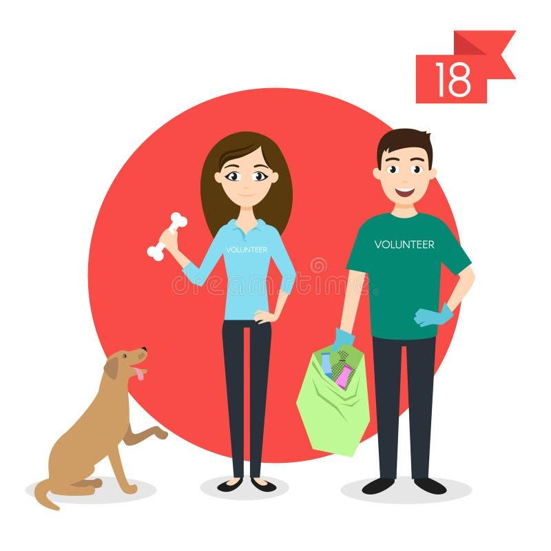 Yrketecken: man och kvinna volontär royaltyfri illustrationer