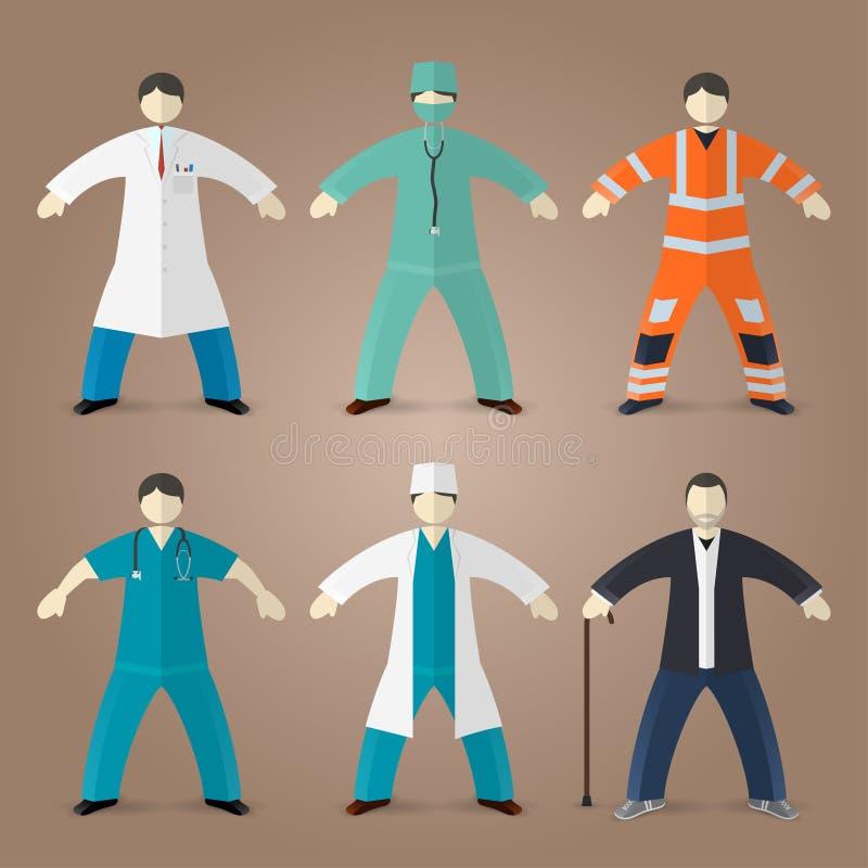 Yrkeuppsättning av medicinska doktorer vektor illustrationer