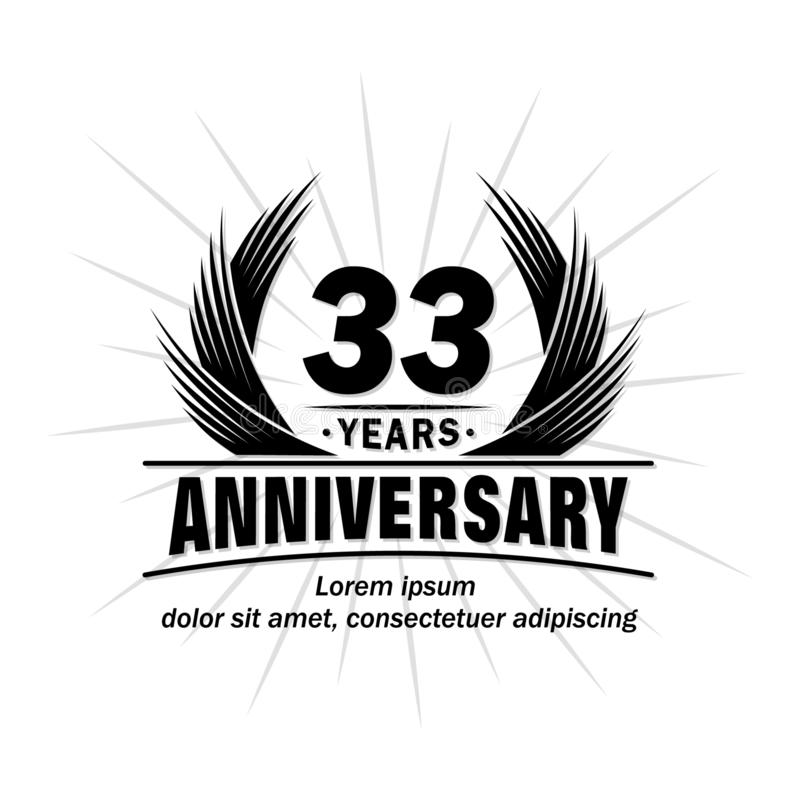 33 years anniversary. Elegant anniversary design. 33rd years logo. stock illustration