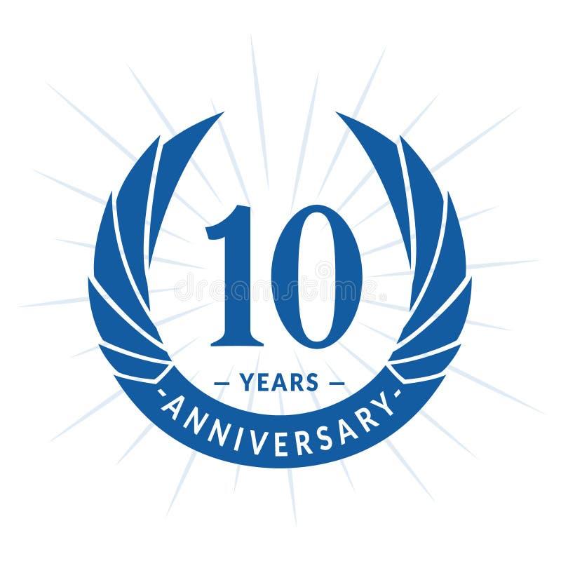 10 years anniversary design template. Elegant anniversary logo design. Ten years logo. stock illustration