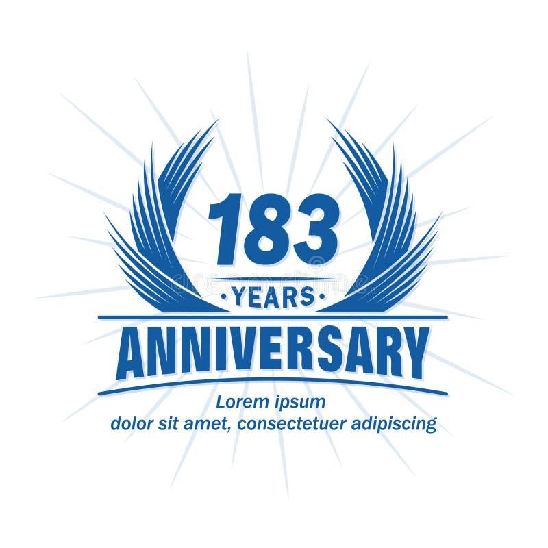 183 years anniversary. Elegant anniversary design. 183rd years logo. 183 years anniversary celebration design template. 183 years vector and illustration logo vector illustration