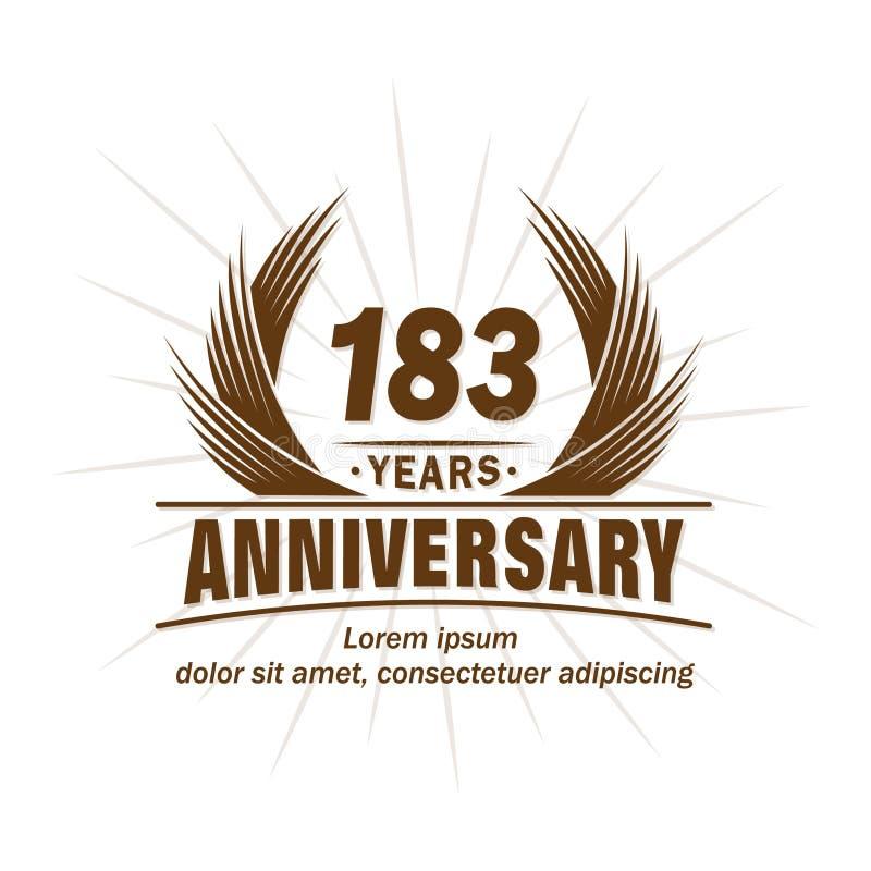 183 years anniversary. Elegant anniversary design. 183rd years logo. 183 years anniversary celebration design template. 183 years vector and illustration logo stock illustration