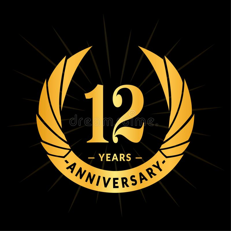 12 years anniversary design template. Elegant anniversary logo design. Twelve years logo. stock illustration