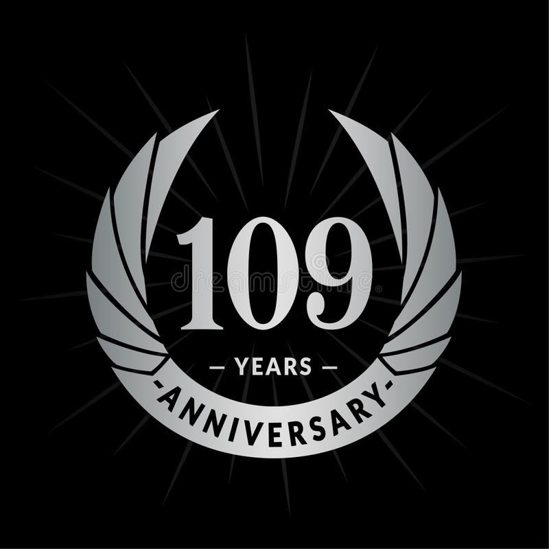 109 years anniversary design template. Elegant anniversary logo design. 109 years logo. stock illustration