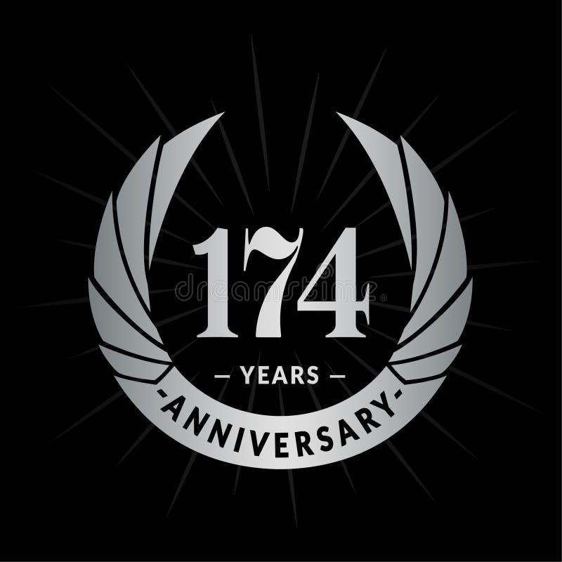 174 years anniversary design template. Elegant anniversary logo design. 174 years logo. vector illustration
